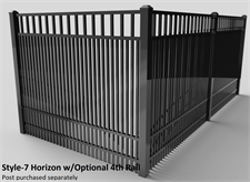 Specrail Style-7 Horizon Aluminum Fence w/Optional 4th Rail